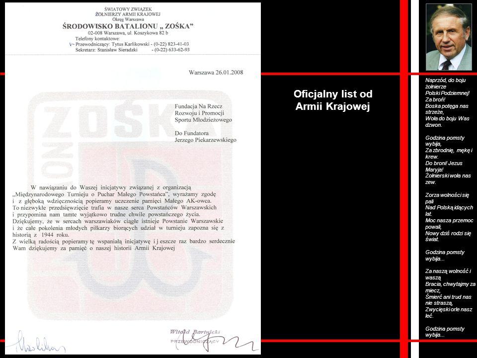 Oficjalny list od Armii Krajowej