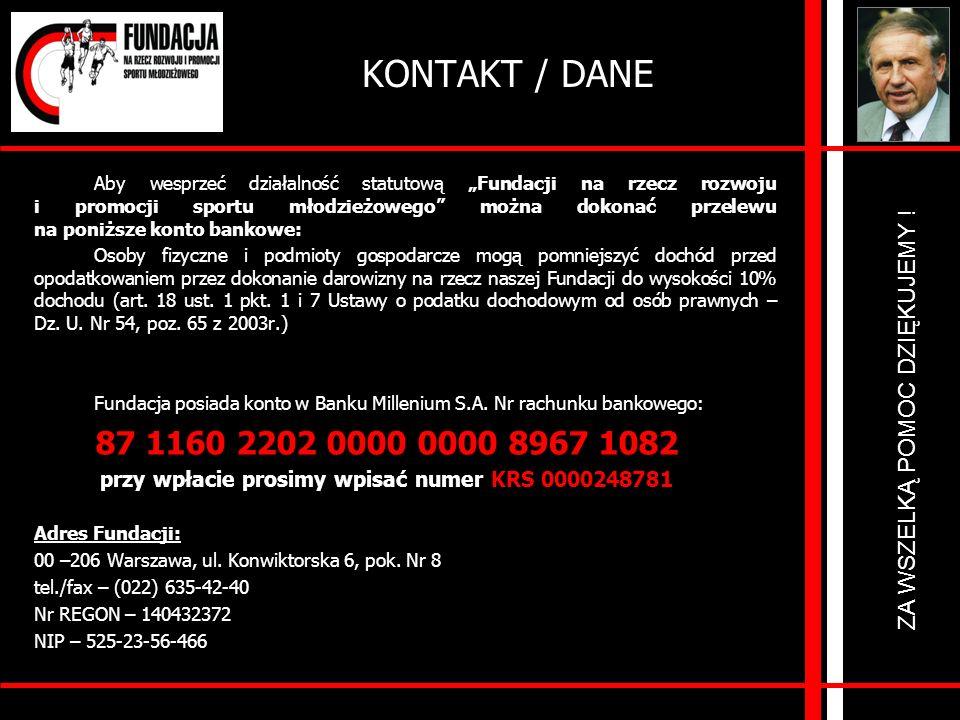 przy wpłacie prosimy wpisać numer KRS 0000248781