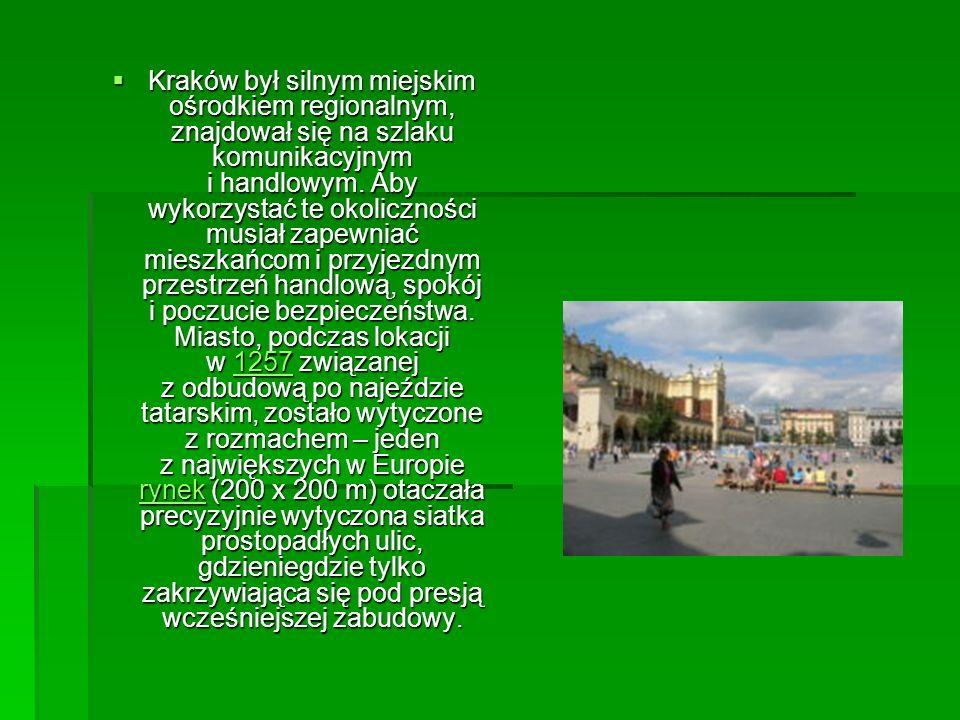 Kraków był silnym miejskim ośrodkiem regionalnym, znajdował się na szlaku komunikacyjnym i handlowym.