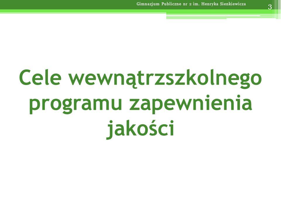 Cele wewnątrzszkolnego programu zapewnienia jakości