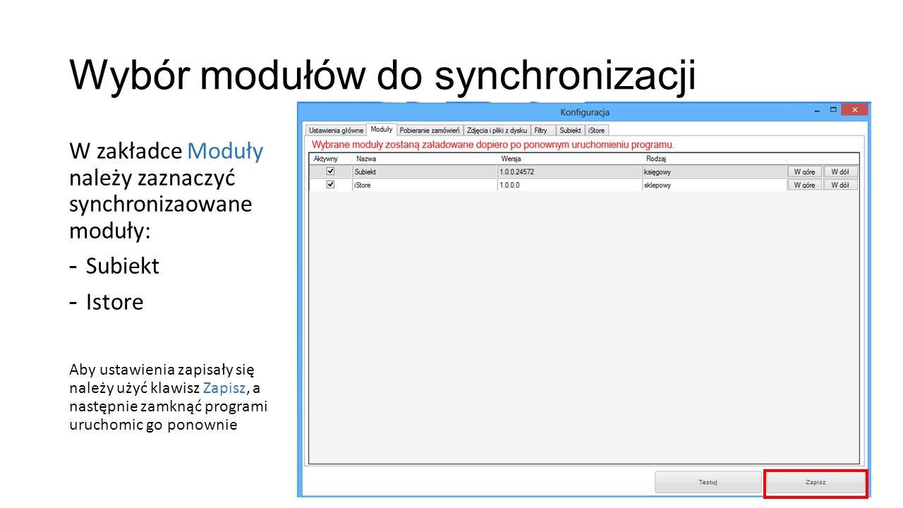 Wybór modułów do synchronizacji