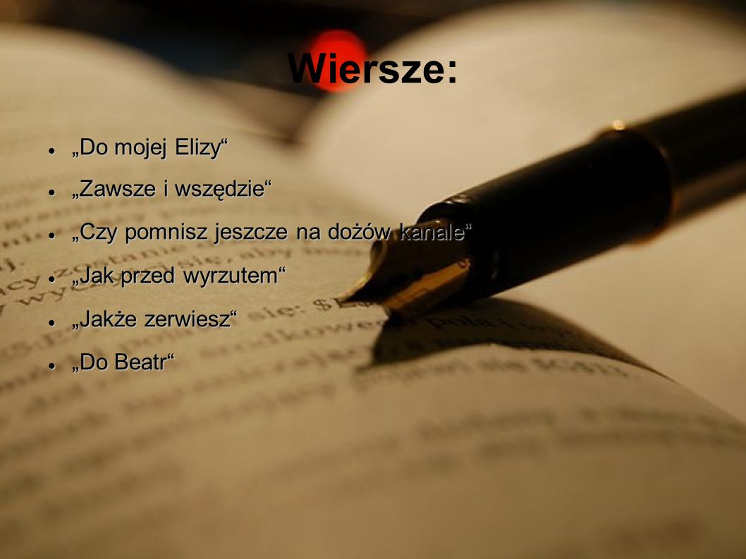 """Wiersze: """"Do mojej Elizy """"Zawsze i wszędzie"""