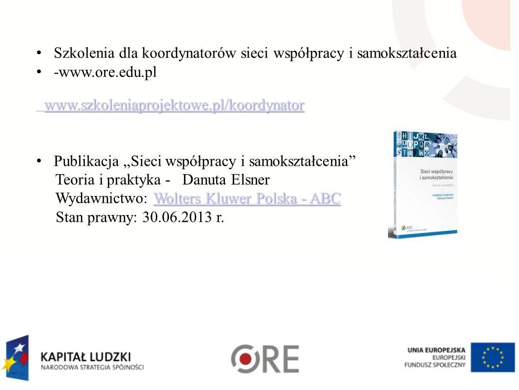 Szkolenia dla koordynatorów sieci współpracy i samokształcenia