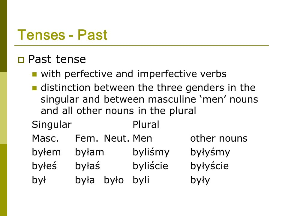 Tenses - Past Past tense with perfective and imperfective verbs