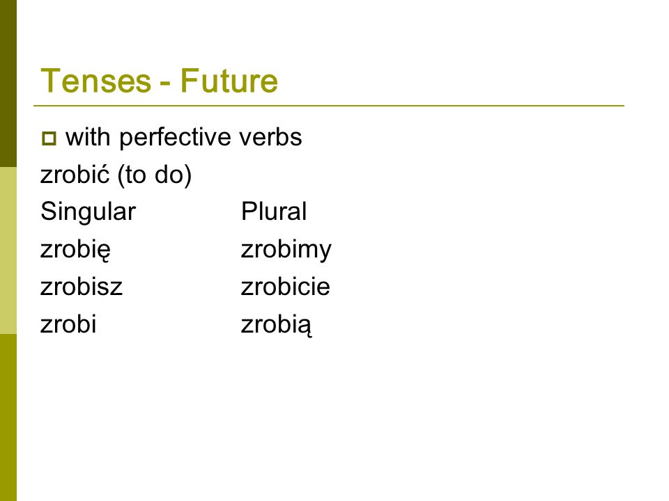 Tenses - Future with perfective verbs zrobić (to do) Singular Plural