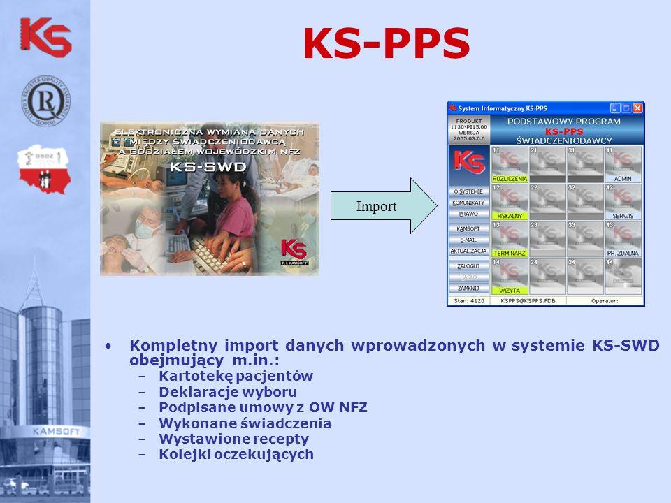 KS-PPS Import. Kompletny import danych wprowadzonych w systemie KS-SWD obejmujący m.in.: Kartotekę pacjentów.