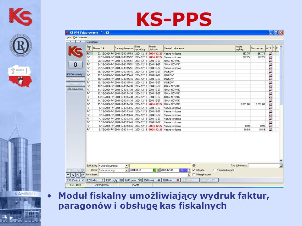 KS-PPS Moduł fiskalny umożliwiający wydruk faktur, paragonów i obsługę kas fiskalnych