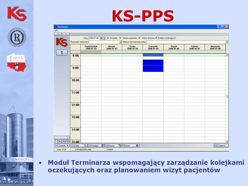 KS-PPS Moduł Terminarza wspomagający zarządzanie kolejkami oczekujących oraz planowaniem wizyt pacjentów.