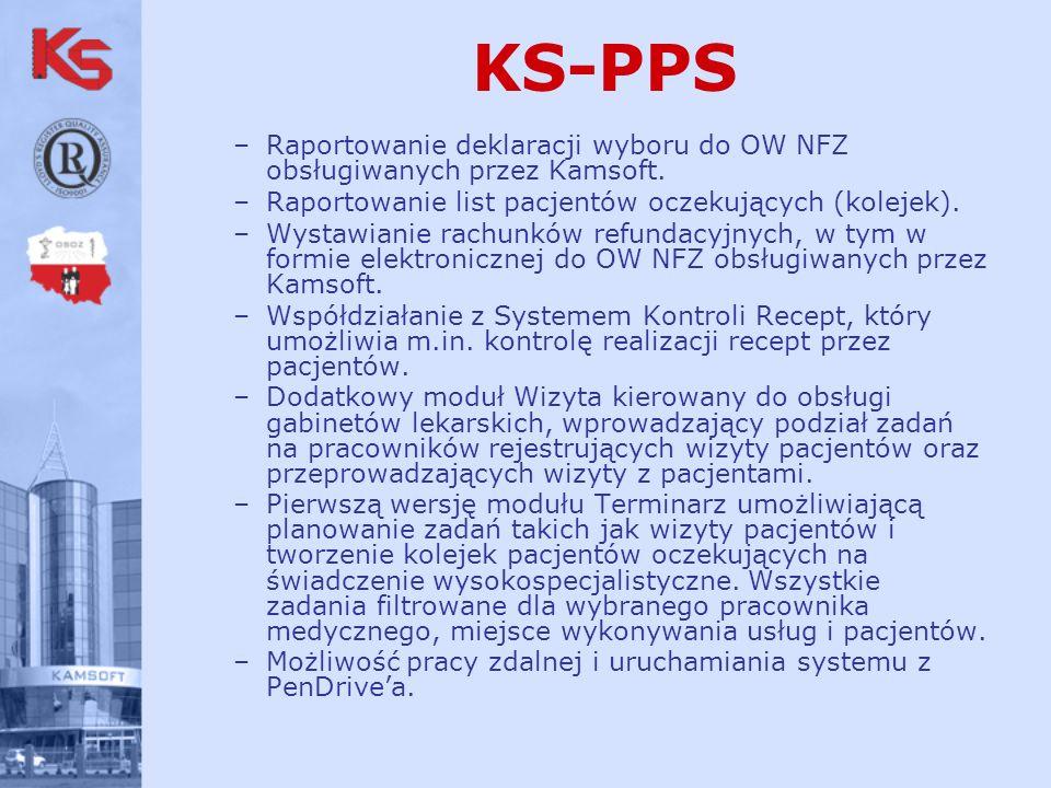 KS-PPS Raportowanie deklaracji wyboru do OW NFZ obsługiwanych przez Kamsoft. Raportowanie list pacjentów oczekujących (kolejek).