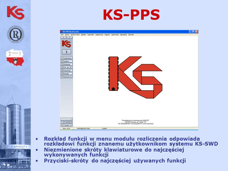 KS-PPS Rozkład funkcji w menu modułu rozliczenia odpowiada rozkładowi funkcji znanemu użytkownikom systemu KS-SWD.
