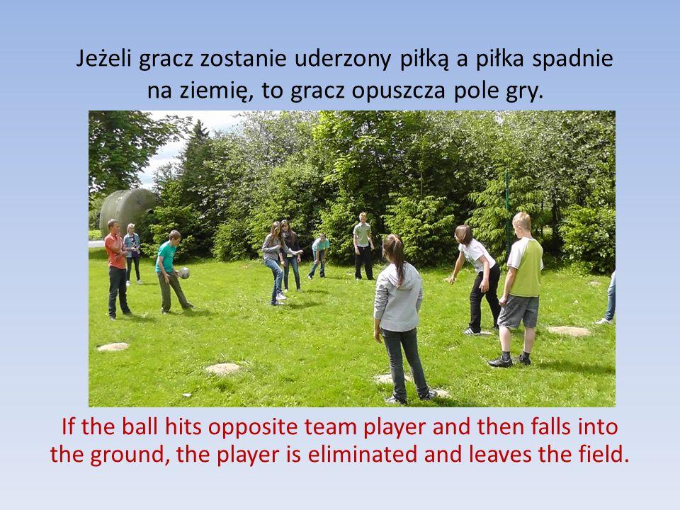 Jeżeli gracz zostanie uderzony piłką a piłka spadnie na ziemię, to gracz opuszcza pole gry.