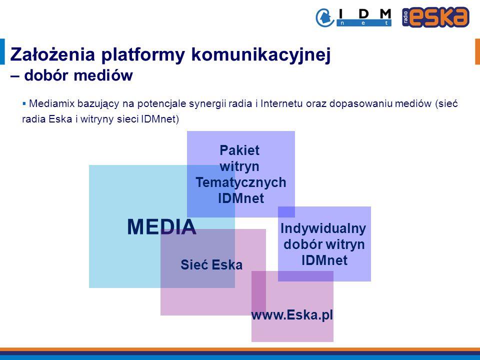 MEDIA Założenia platformy komunikacyjnej – dobór mediów Pakiet witryn