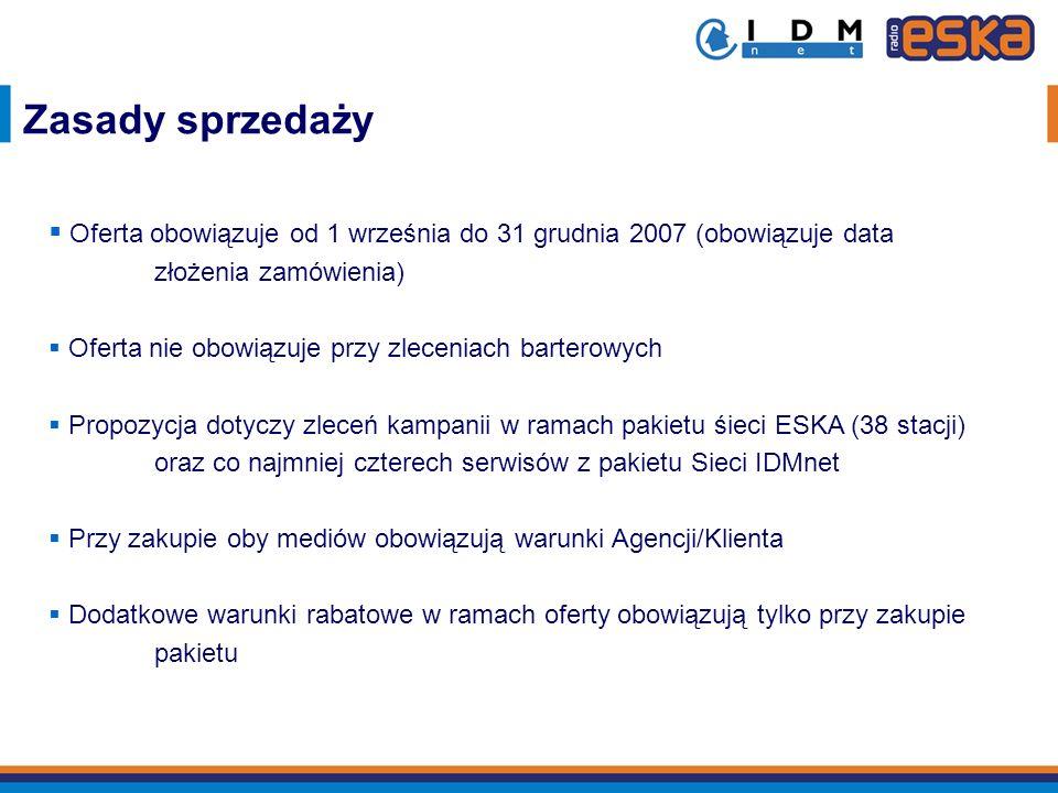 Zasady sprzedaży Oferta obowiązuje od 1 września do 31 grudnia 2007 (obowiązuje data złożenia zamówienia)