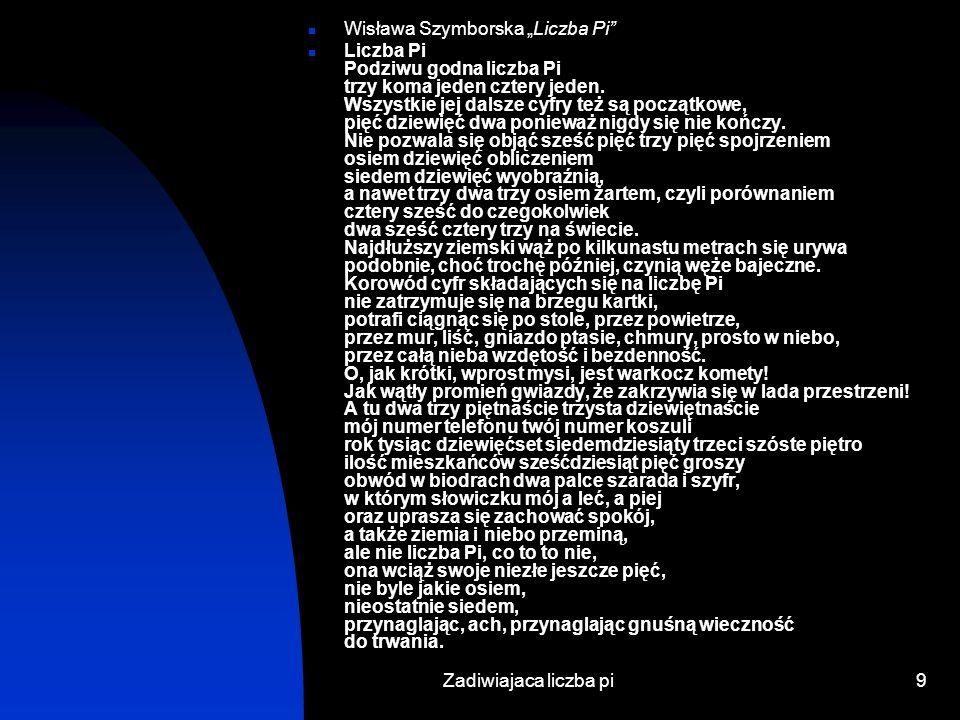 """Wisława Szymborska """"Liczba Pi"""