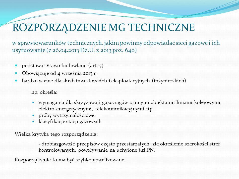 ROZPORZĄDZENIE MG TECHNICZNE w sprawie warunków technicznych, jakim powinny odpowiadać sieci gazowe i ich usytuowanie (z 26.04.2013 Dz.U. z 2013 poz. 640)