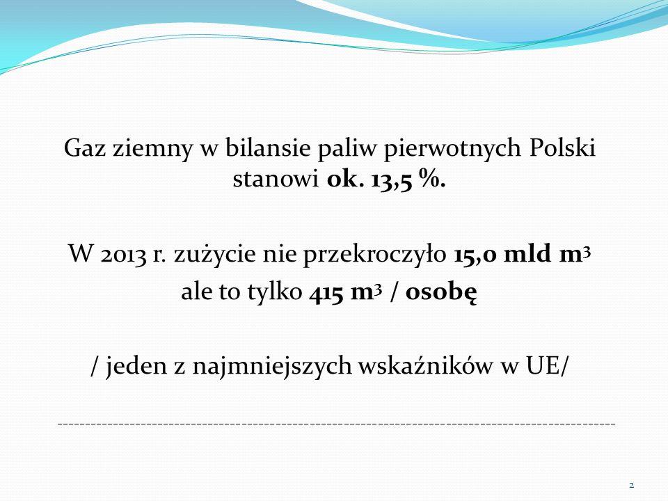 Gaz ziemny w bilansie paliw pierwotnych Polski stanowi ok. 13,5 %