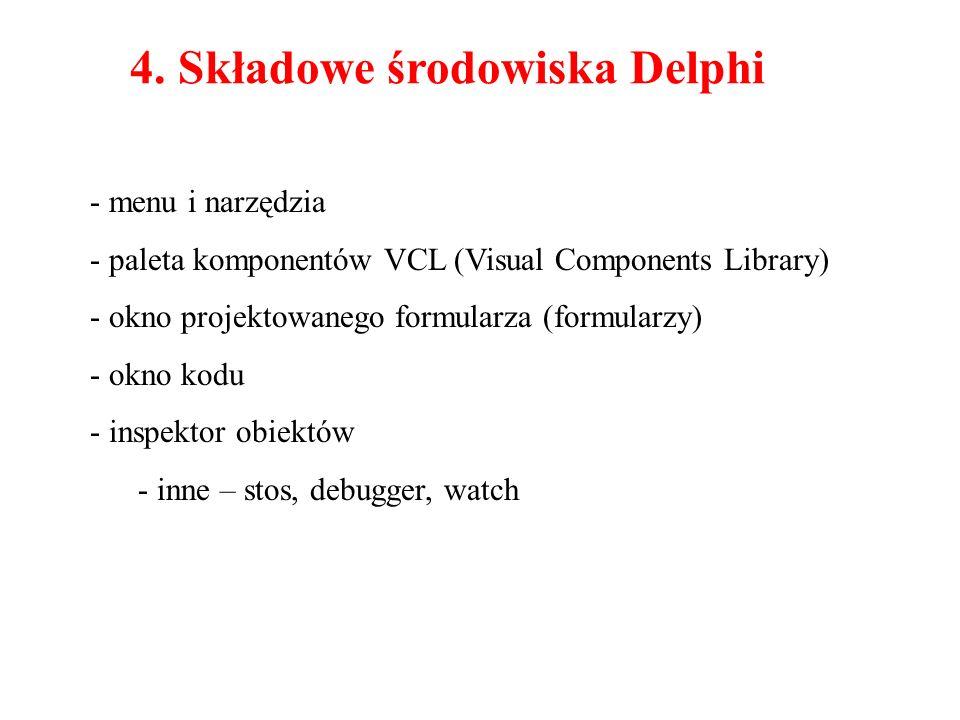4. Składowe środowiska Delphi