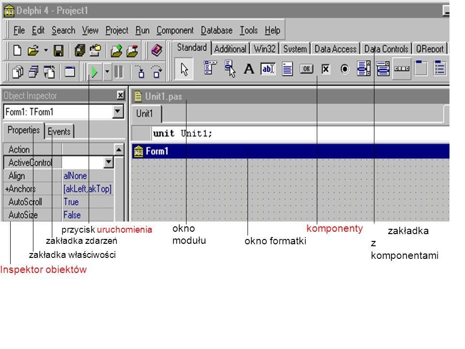 zakładka z komponentami komponenty okno formatki okno modułu