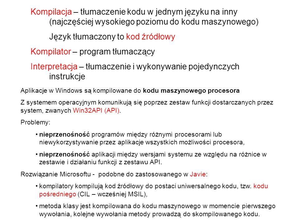 Język tłumaczony to kod źródłowy Kompilator – program tłumaczący