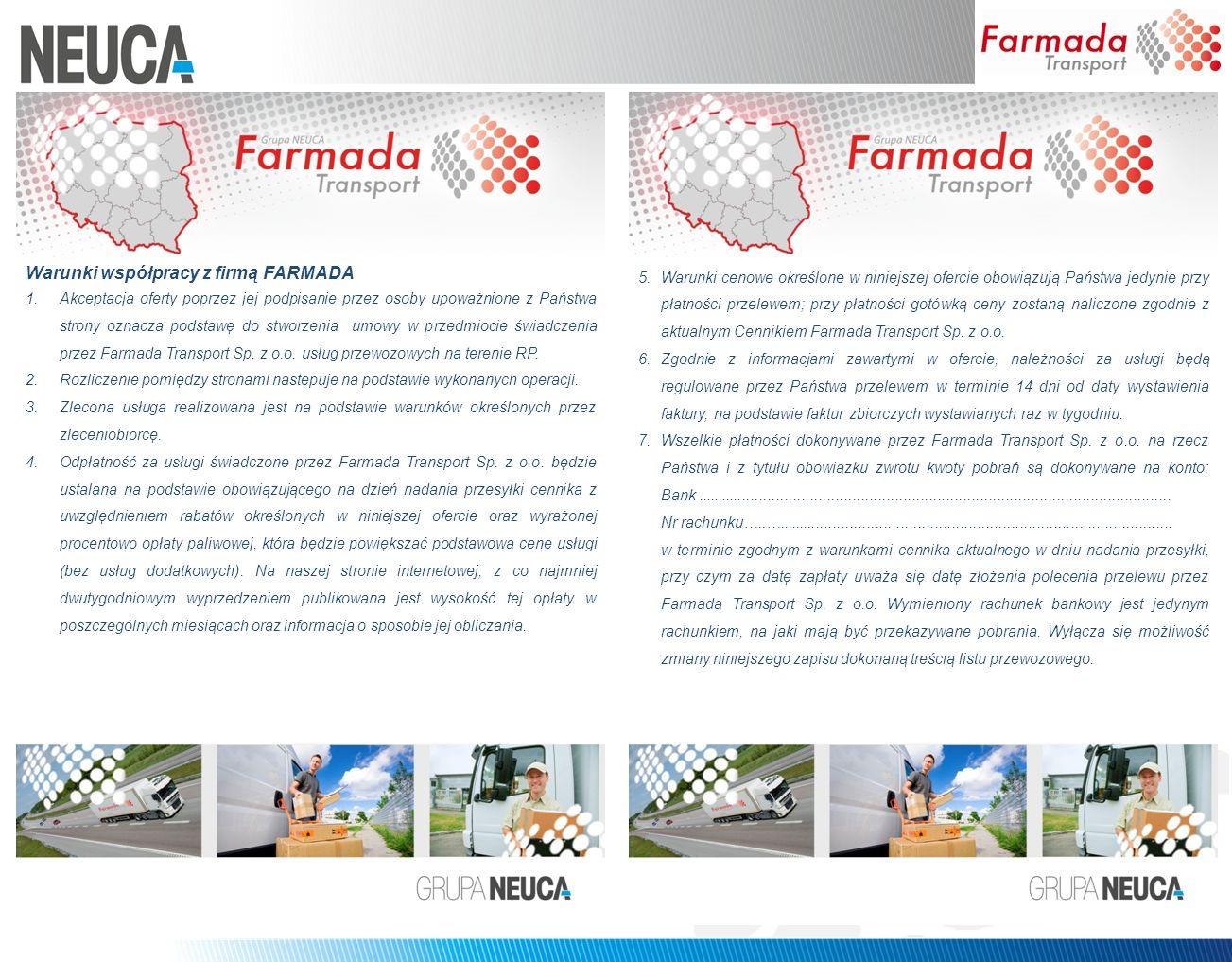 Warunki współpracy z firmą FARMADA