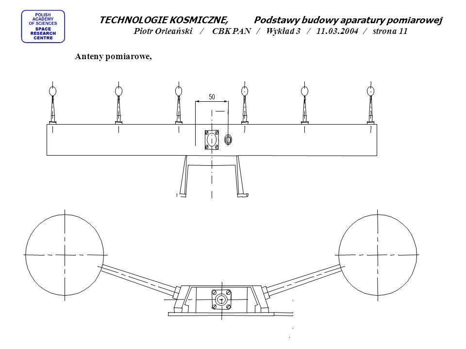 TECHNOLOGIE KOSMICZNE, Podstawy budowy aparatury pomiarowej Piotr Orleański / CBK PAN / Wykład 3 / 11.03.2004 / strona 11