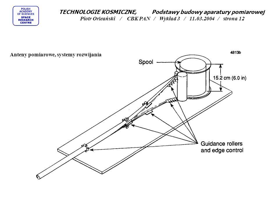 TECHNOLOGIE KOSMICZNE, Podstawy budowy aparatury pomiarowej Piotr Orleański / CBK PAN / Wykład 3 / 11.03.2004 / strona 12