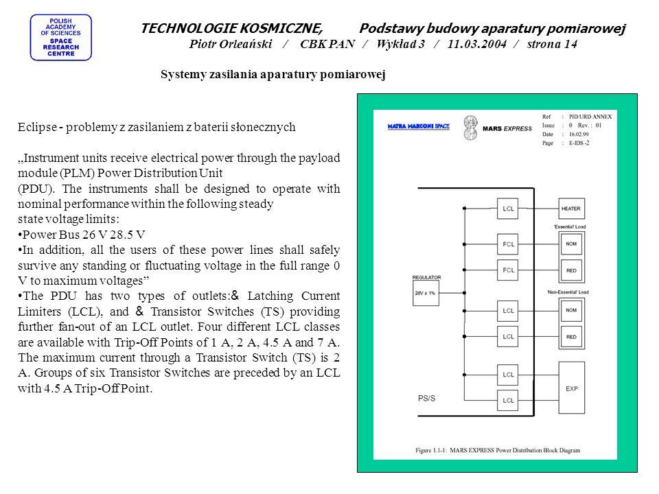 TECHNOLOGIE KOSMICZNE, Podstawy budowy aparatury pomiarowej Piotr Orleański / CBK PAN / Wykład 3 / 11.03.2004 / strona 14