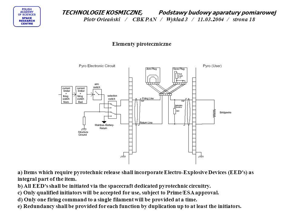 TECHNOLOGIE KOSMICZNE, Podstawy budowy aparatury pomiarowej Piotr Orleański / CBK PAN / Wykład 3 / 11.03.2004 / strona 18