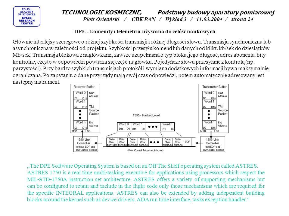DPE - komendy i telemetria używana do celów naukowych