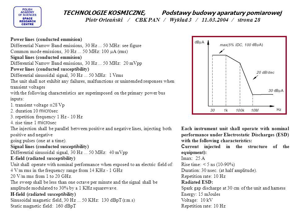 TECHNOLOGIE KOSMICZNE, Podstawy budowy aparatury pomiarowej Piotr Orleański / CBK PAN / Wykład 3 / 11.03.2004 / strona 28