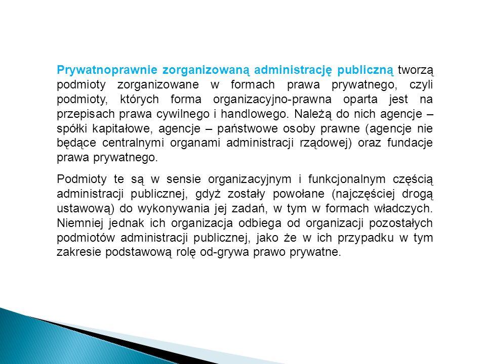 Prywatnoprawnie zorganizowaną administrację publiczną tworzą podmioty zorganizowane w formach prawa prywatnego, czyli podmioty, których forma organizacyjno-prawna oparta jest na przepisach prawa cywilnego i handlowego. Należą do nich agencje – spółki kapitałowe, agencje – państwowe osoby prawne (agencje nie będące centralnymi organami administracji rządowej) oraz fundacje prawa prywatnego.