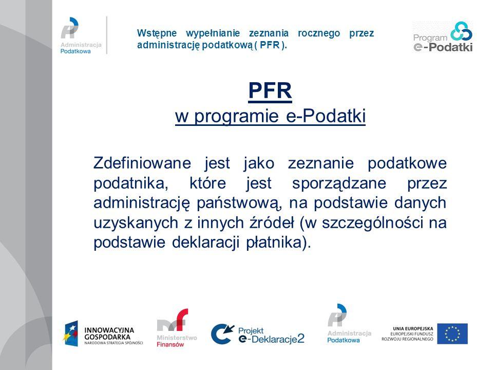 PFR w programie e-Podatki