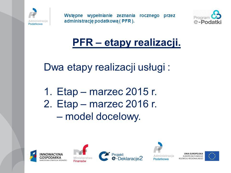 Dwa etapy realizacji usługi : Etap – marzec 2015 r.