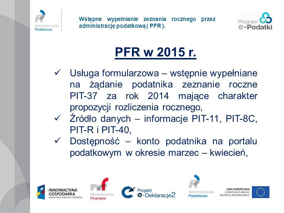Wstępne wypełnianie zeznania rocznego przez administrację podatkową ( PFR ).
