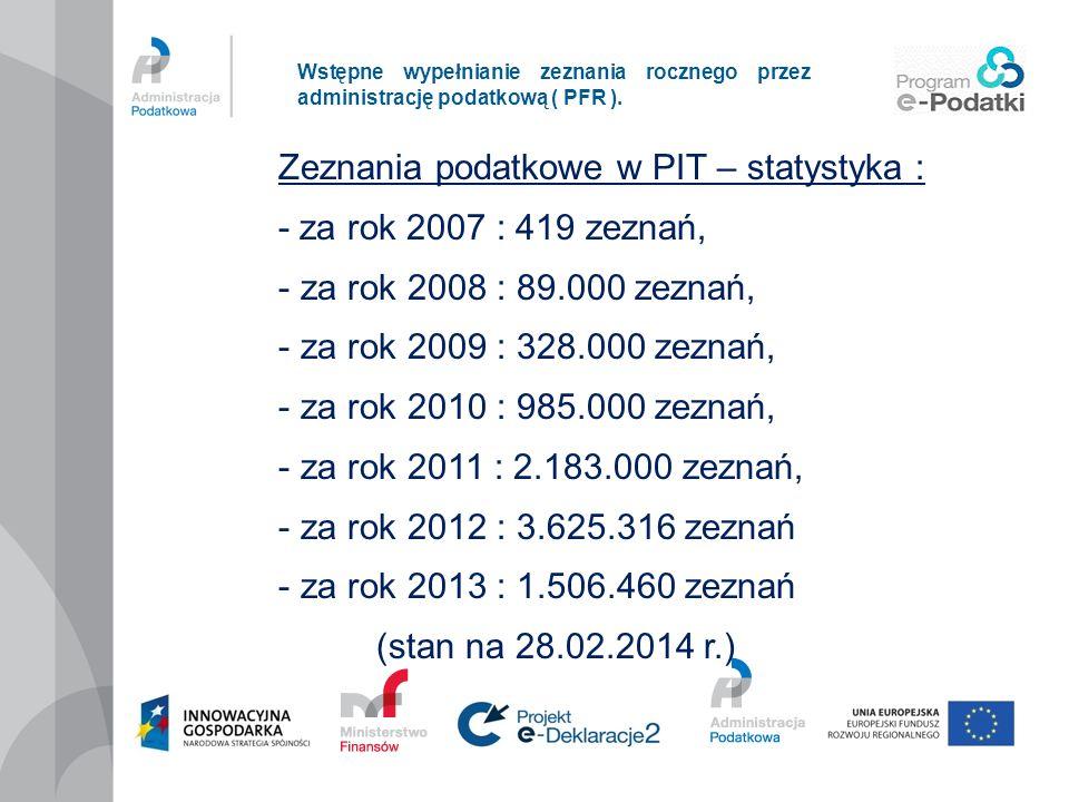 Zeznania podatkowe w PIT – statystyka : - za rok 2007 : 419 zeznań,