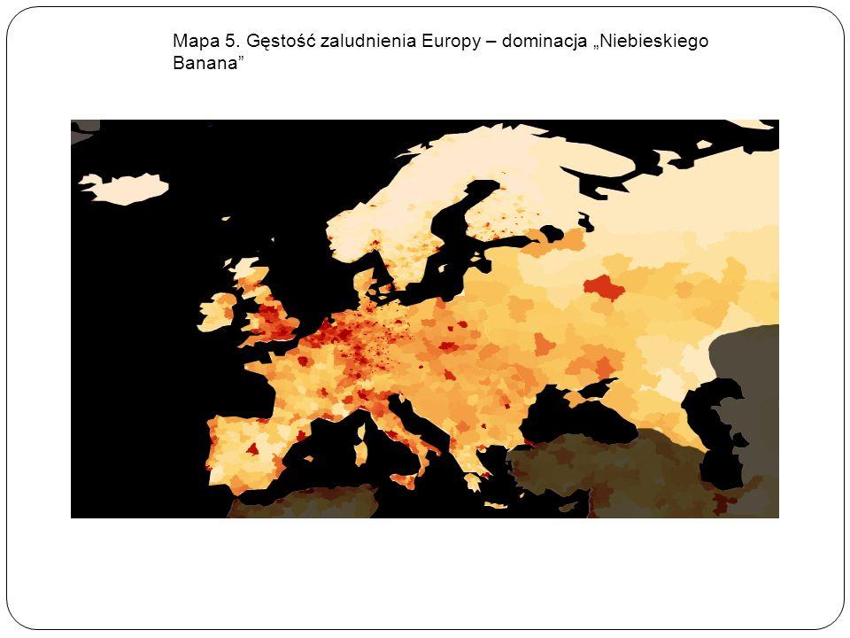 """Mapa 5. Gęstość zaludnienia Europy – dominacja """"Niebieskiego Banana"""