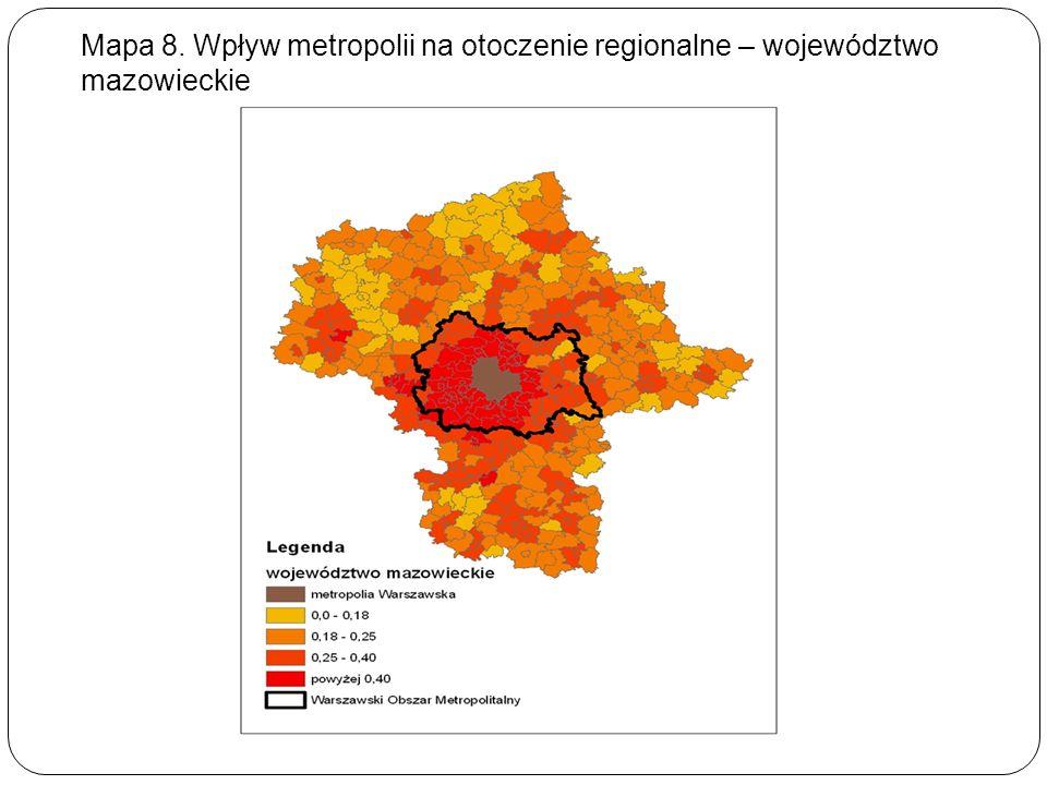 Mapa 8. Wpływ metropolii na otoczenie regionalne – województwo mazowieckie