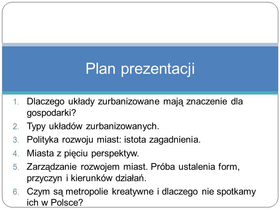 Plan prezentacji Dlaczego układy zurbanizowane mają znaczenie dla gospodarki Typy układów zurbanizowanych.