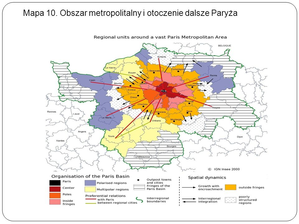 Mapa 10. Obszar metropolitalny i otoczenie dalsze Paryża
