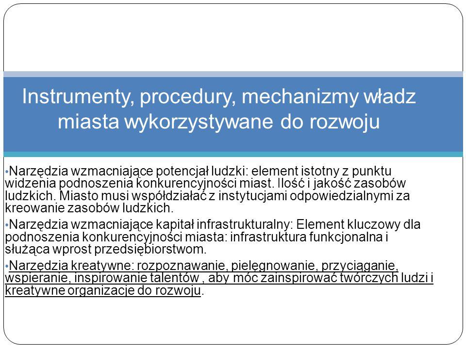 Instrumenty, procedury, mechanizmy władz miasta wykorzystywane do rozwoju