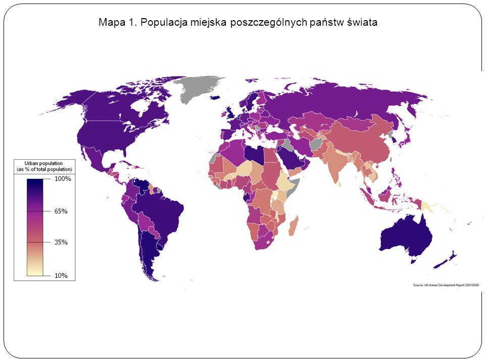 Mapa 1. Populacja miejska poszczególnych państw świata