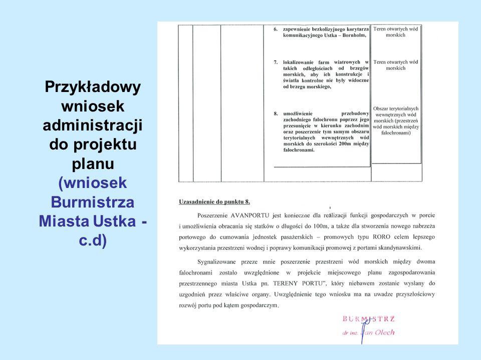 Przykładowy wniosek administracji do projektu planu (wniosek Burmistrza Miasta Ustka - c.d)
