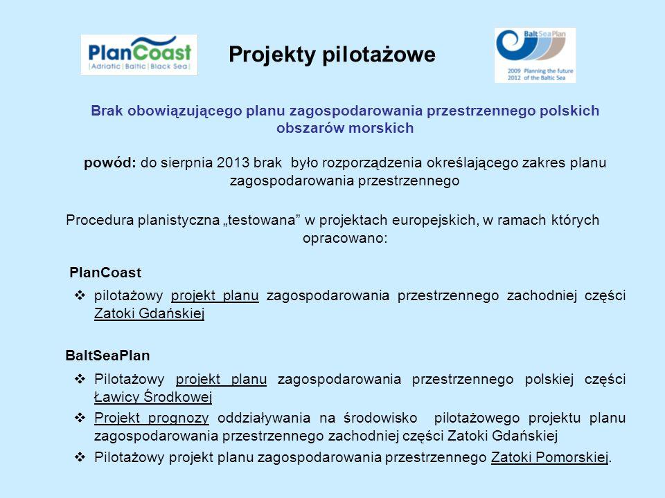 Projekty pilotażowe Brak obowiązującego planu zagospodarowania przestrzennego polskich obszarów morskich.
