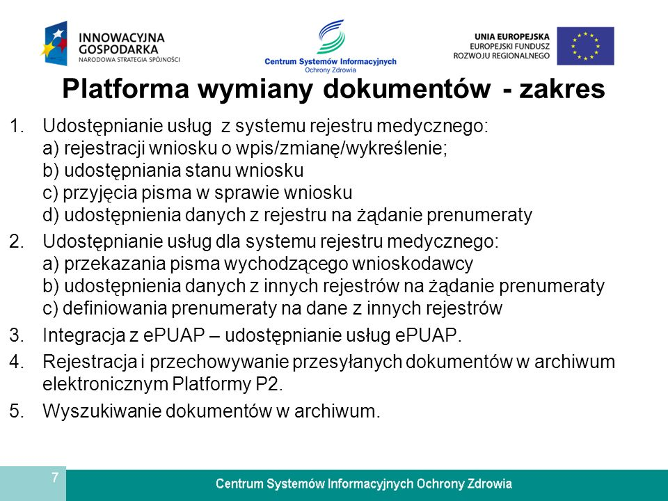Platforma wymiany dokumentów - zakres