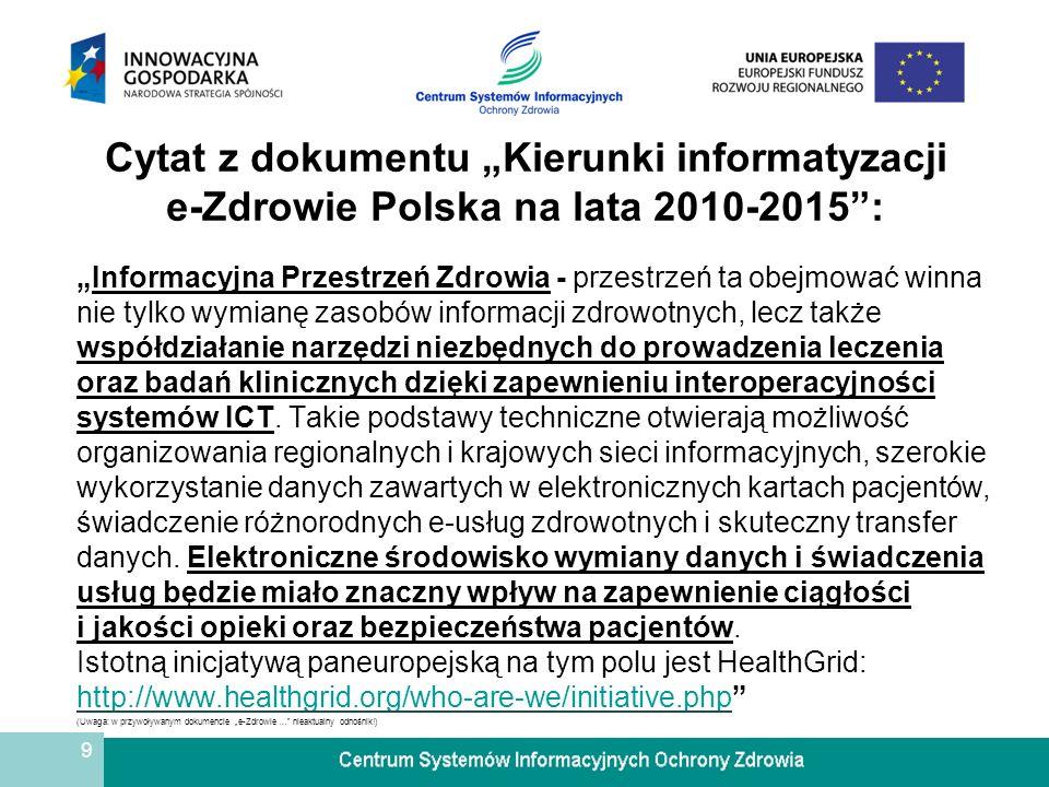 """Cytat z dokumentu """"Kierunki informatyzacji e-Zdrowie Polska na lata 2010-2015 :"""