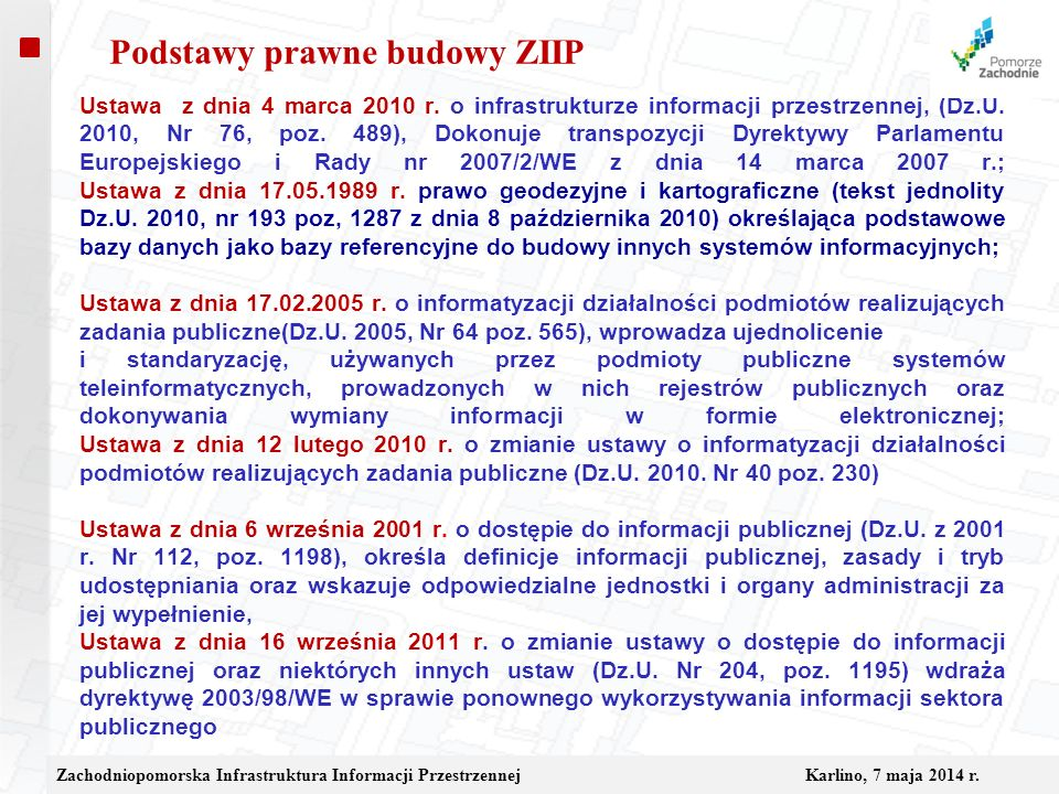 Podstawy prawne budowy ZIIP