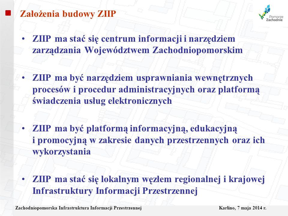 Założenia budowy ZIIP ZIIP ma stać się centrum informacji i narzędziem zarządzania Województwem Zachodniopomorskim.