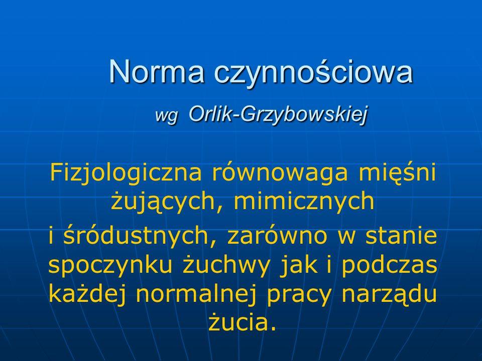 Norma czynnościowa wg Orlik-Grzybowskiej