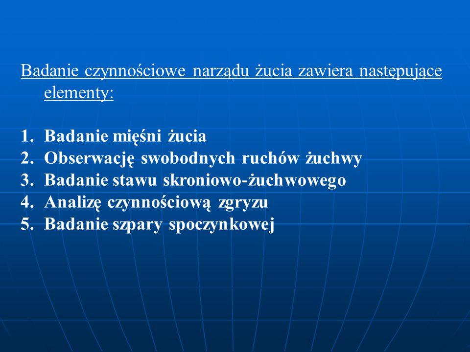 Badanie czynnościowe narządu żucia zawiera następujące elementy: