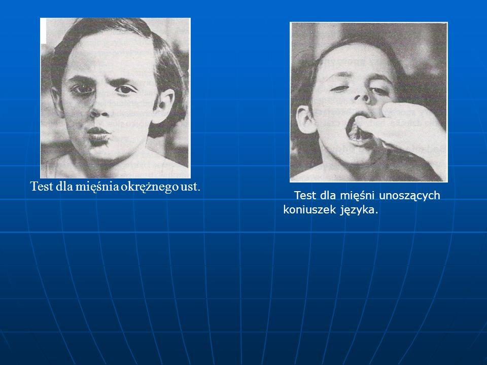 Test dla mięśnia okrężnego ust.